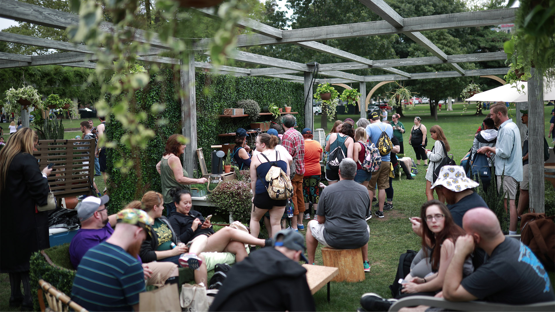 Gamers take a moment to relax and recharge at a Greenhouse lounge.