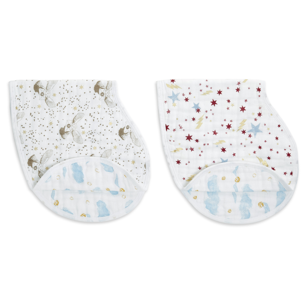 """The aden + anais """"Harry Potter"""" Burpy Bibs are made from 100% cotton with a Golden Snitch design on the reverse."""