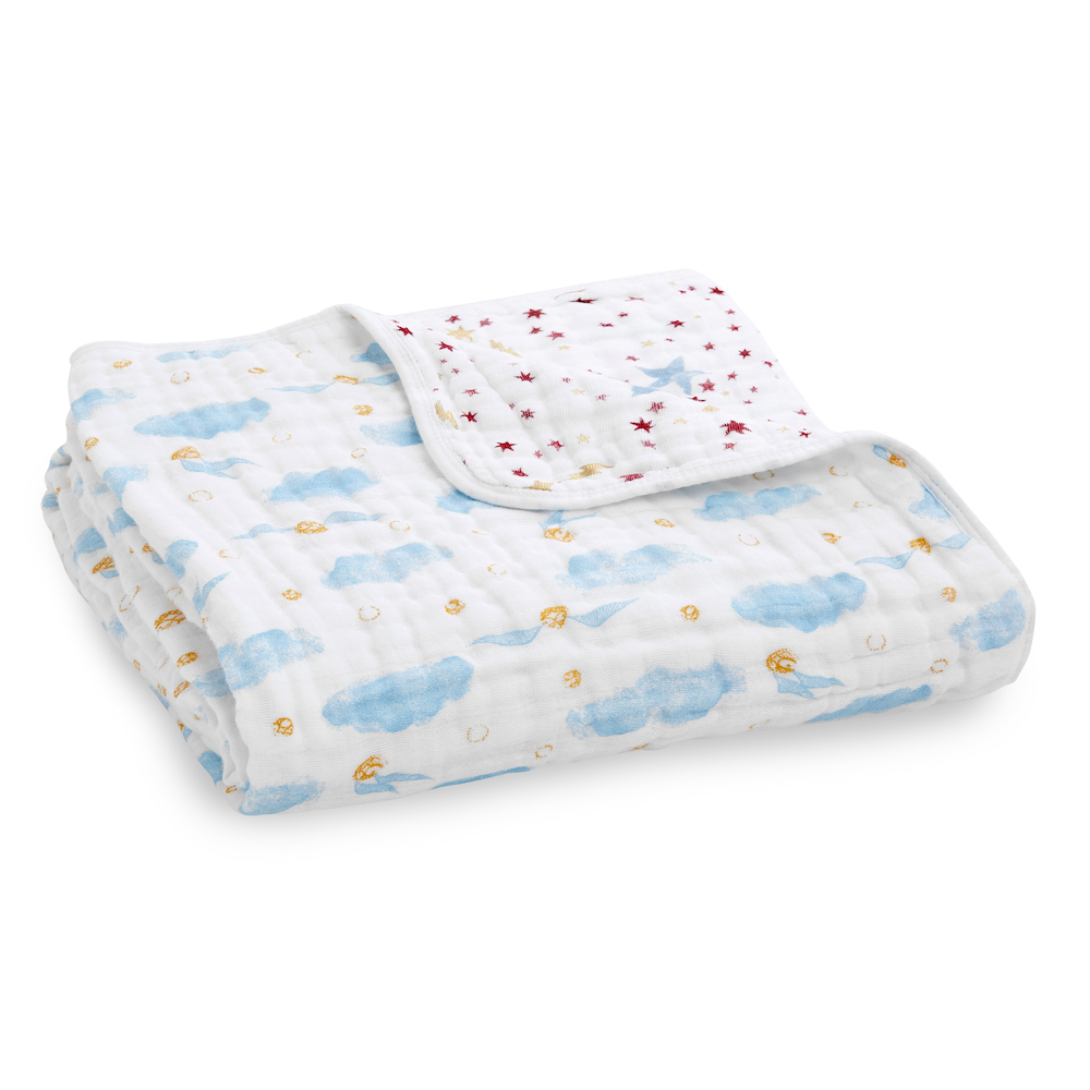 The Dream Blanket is made with with four layers of 100% cotton muslin and is suitable for both toddlers and newborns.