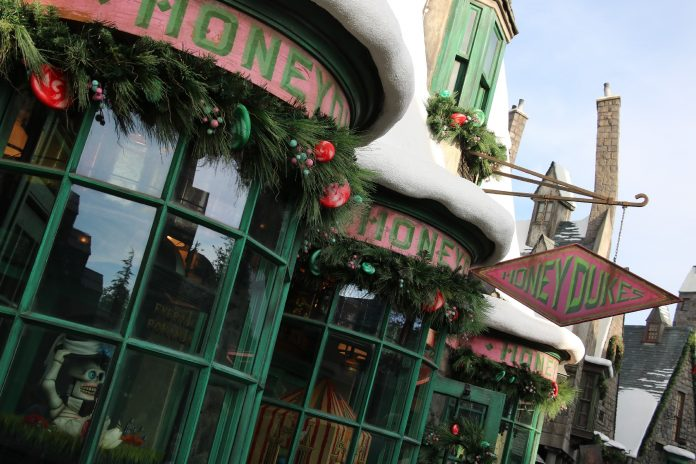 Image of Honeydukes decked out for the holiday season