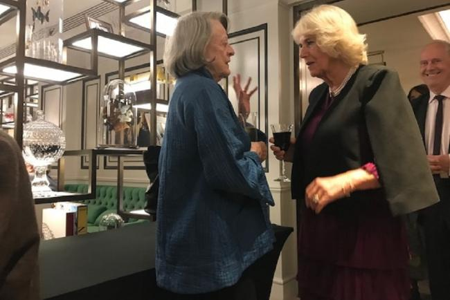Dame Maggie Smith chats with the Duchess of Cornwall.
