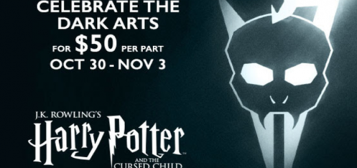 "A banner serves as a featured image for a Dark Arts ticket offer from ""Harry Potter and the Cursed Child"" on Broadway."