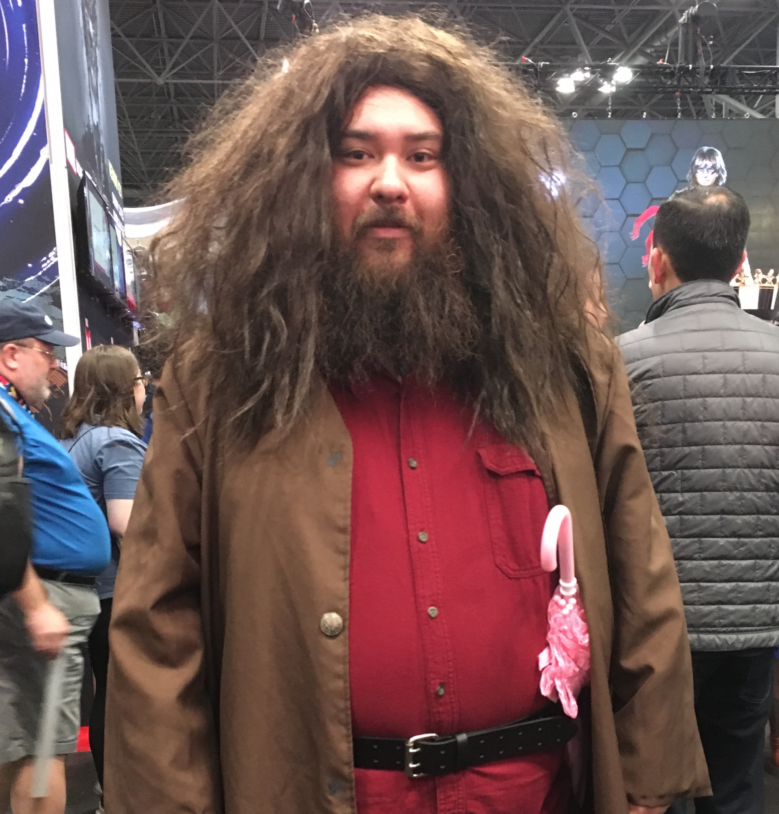This Rubeus Hagrid cosplay at New York Comic Con even has a flowery pink umbrella!