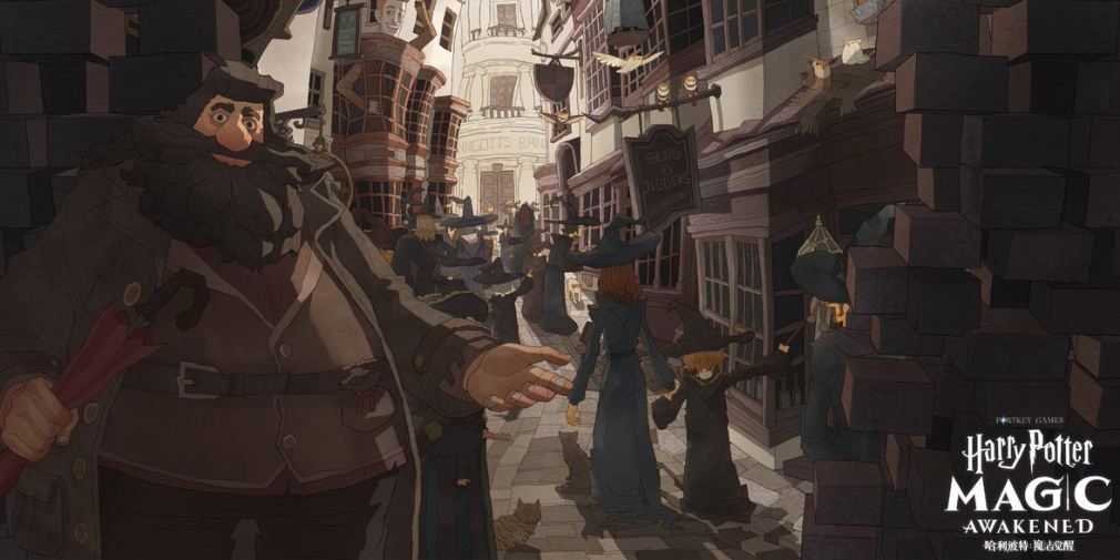 """Hagrid and Diagon Alley are pictured in a screenshot from """"Harry Potter: Magic Awakened""""."""