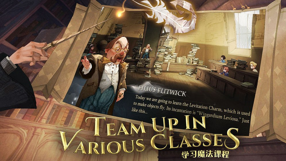 """Professor Flitwick welcomes you to Charms class in this screenshot from """"Harry Potter: Magic Awakened""""."""