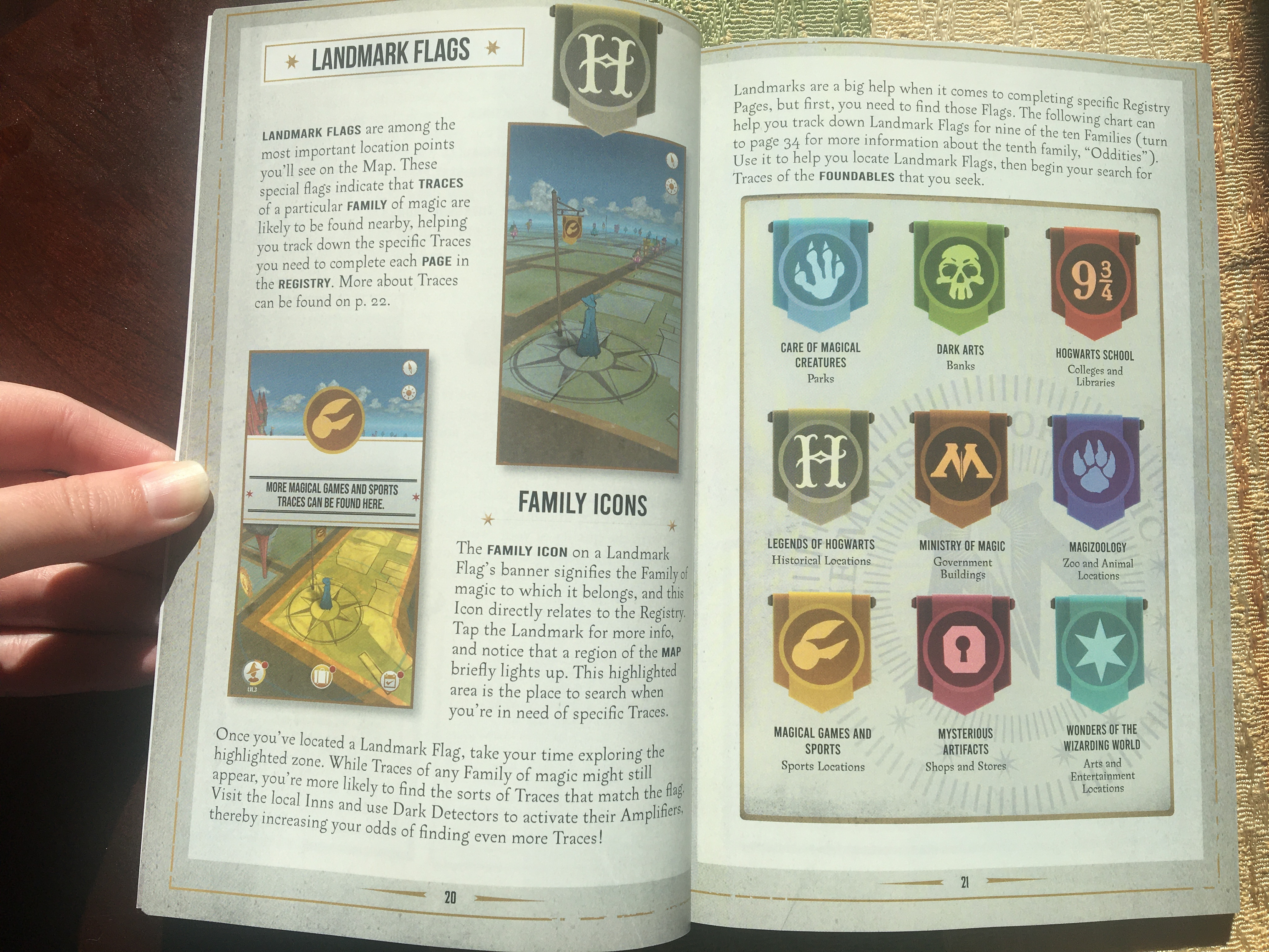 """Harry Potter: Wizards Unite: Official Game Guide"", landmark flags spread"