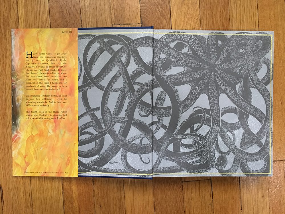 "Illustrated ""Goblet of Fire"" endpapers"