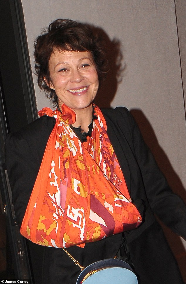"Helen McCrory leaves the after party for ""One Voice: Cracked"" with her arm in a makeshift sling but a smile on her face."