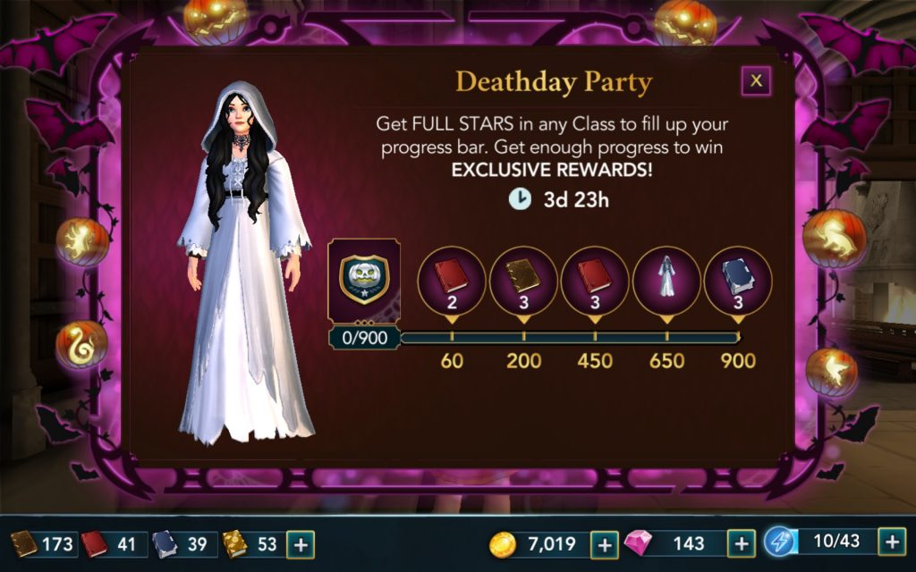 If you earned enough stars in your classes, you'll have received a Deathday Party outfit.