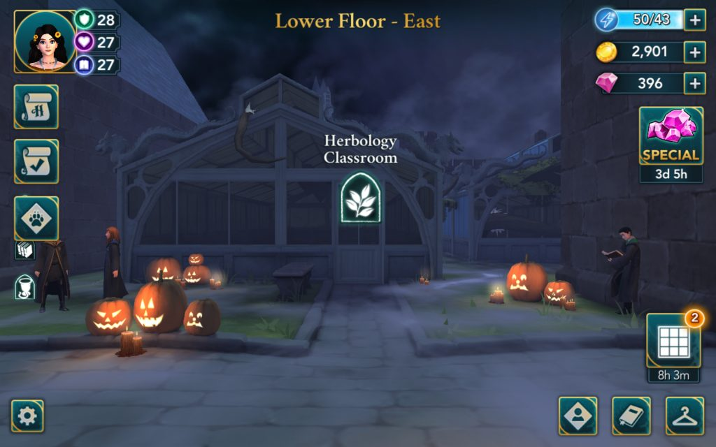 "The area around the Herbology Classroom in ""Harry Potter: Hogwarts Mystery"" is all decked out for Halloween."
