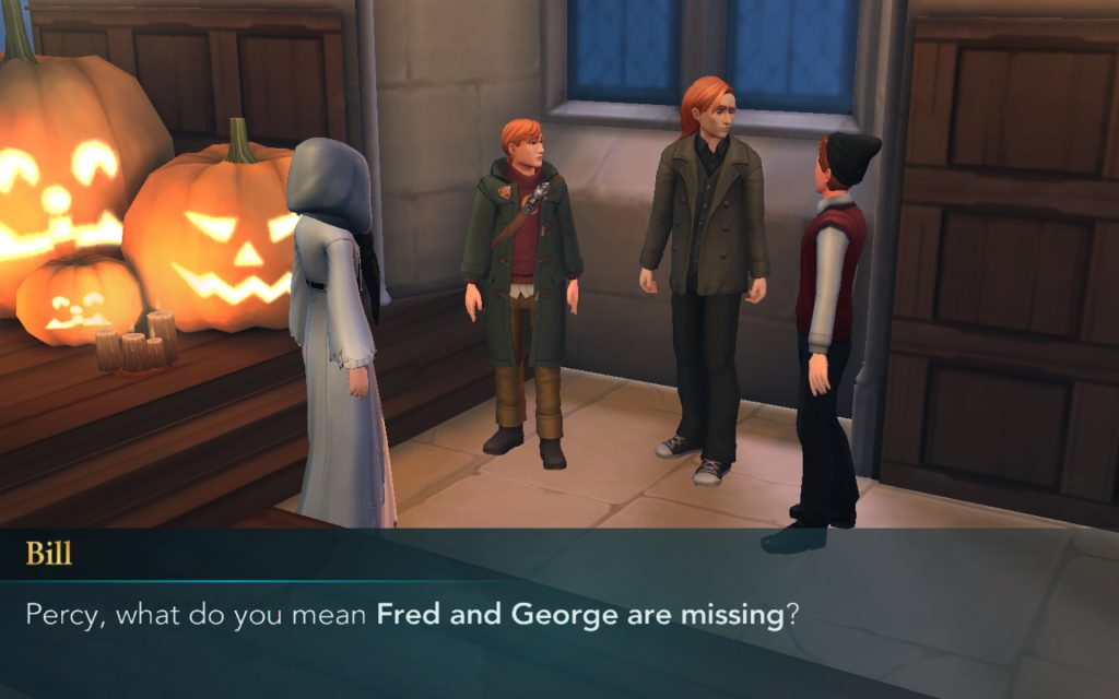 Bill and Charlie Weasley are shocked (although why, we don't know) that Fred and George are missing.
