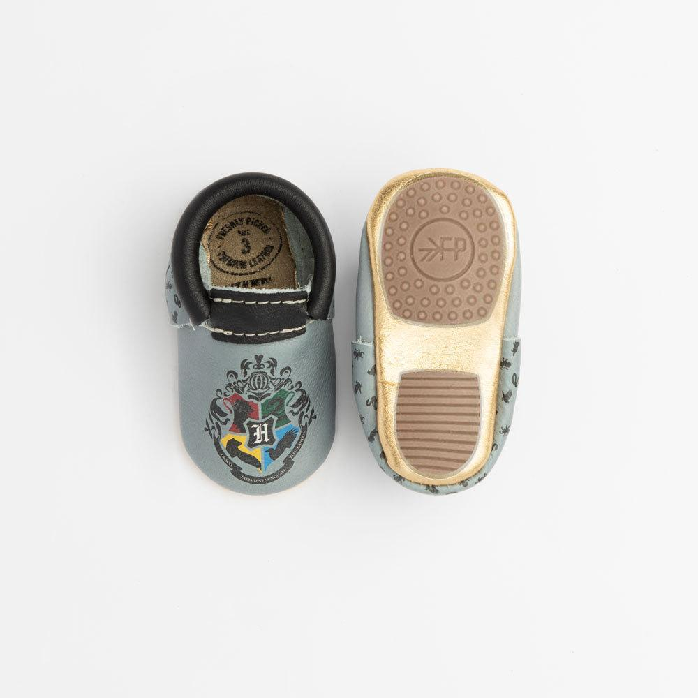 Don't want to Sort your baby into a House yet? Then these Hogwarts crest moccasins are your best choice!