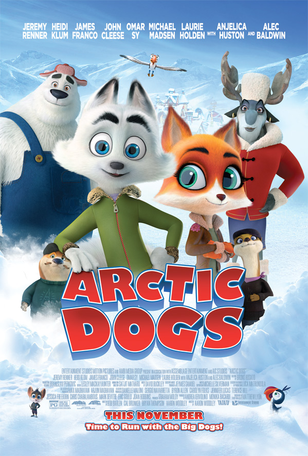 "Pictured is a movie poster for ""Arctic Dogs""."