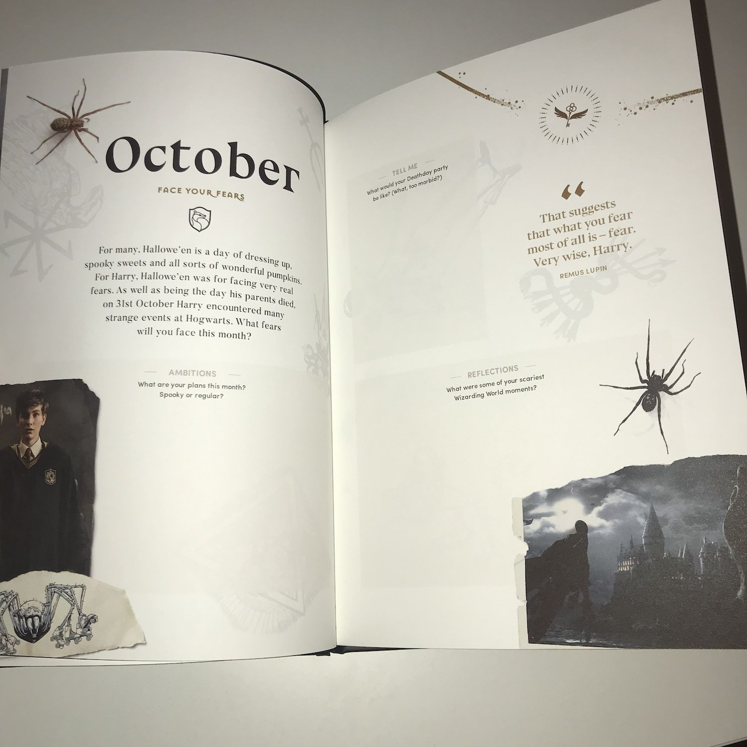 October's page is full of creepy spiders and chilling Dementors.