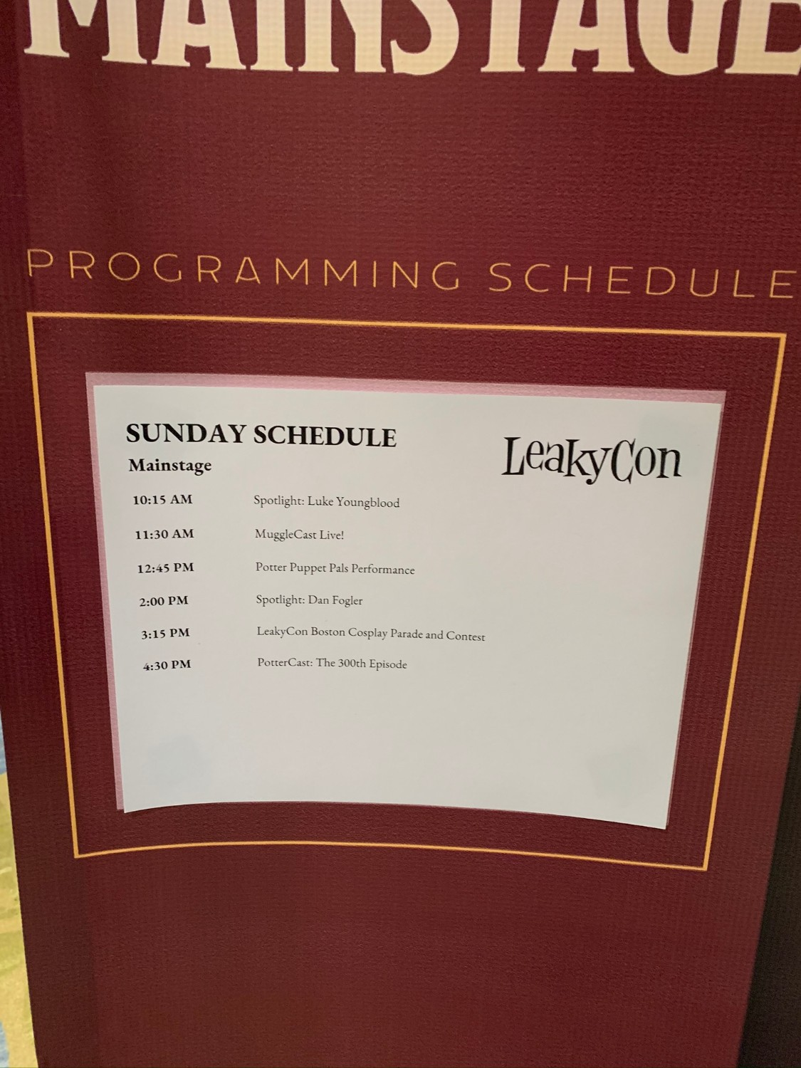 LeakyCon MainStage Sunday schedule