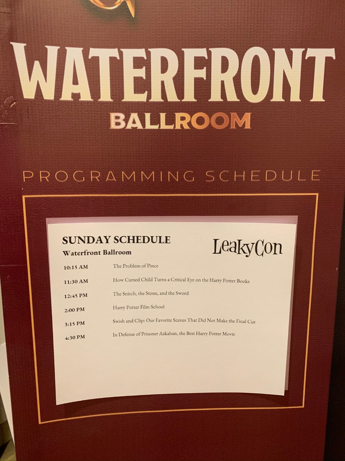 LeakyCon Waterfront Ballroom Sunday schedule