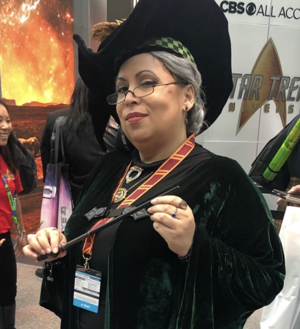 One of our volunteers at the MuggleNet 20th-anniversary panel cosplayed as Professor McGonagall.