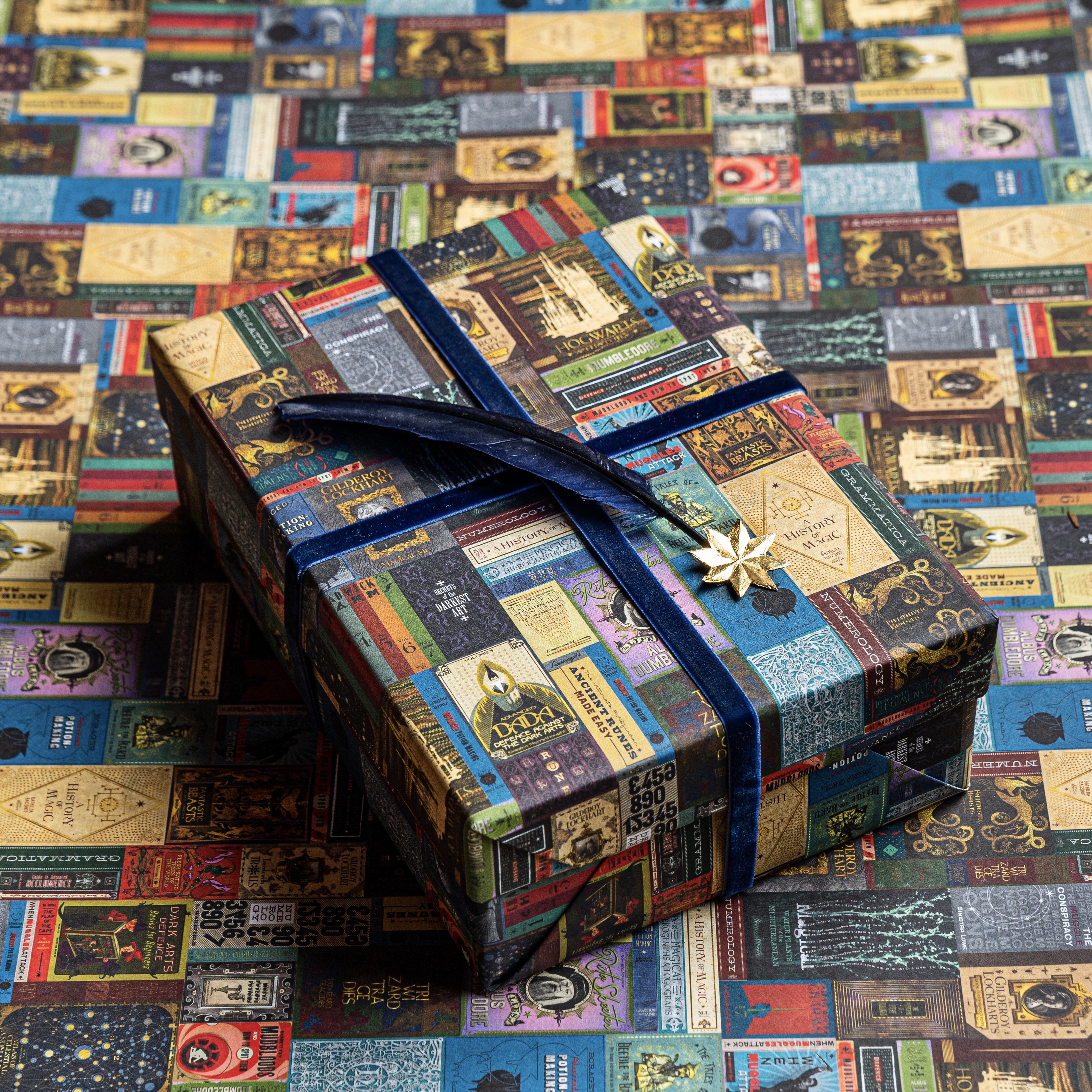 This multi-colored Hogwarts Library gift wrap has a beautiful aesthetic that pleases the eye.