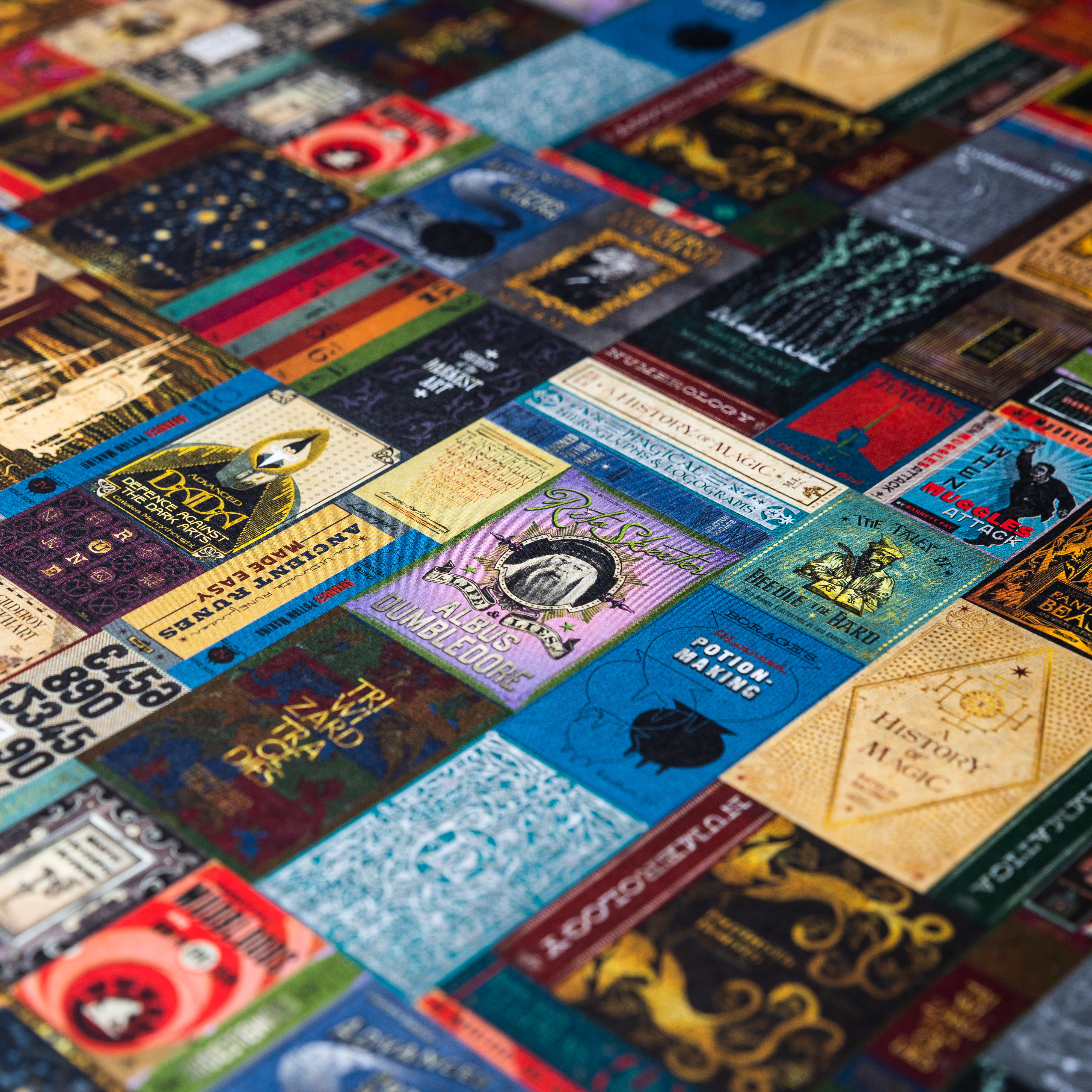 "The design has every wizarding book from ""A History of Magic"" to ""The Life and Lies of Albus Dumbledore."""
