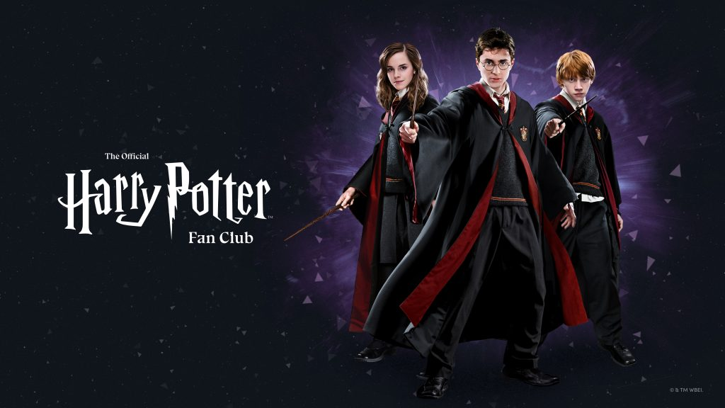 Image for the Official Harry Potter Fan Club, which features, Harry, Ron, and Hermione