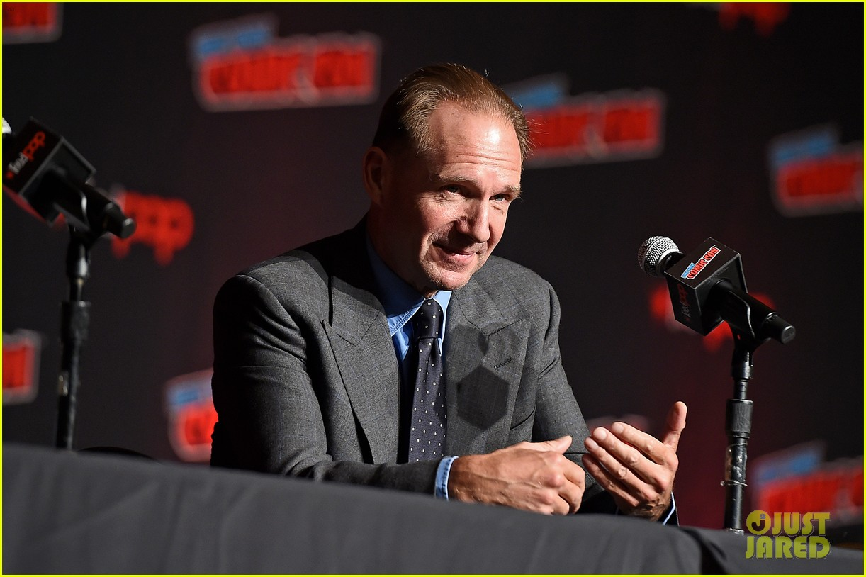 "Ralph Fiennes speaks during ""The King's Man"" panel at New York Comic Con."