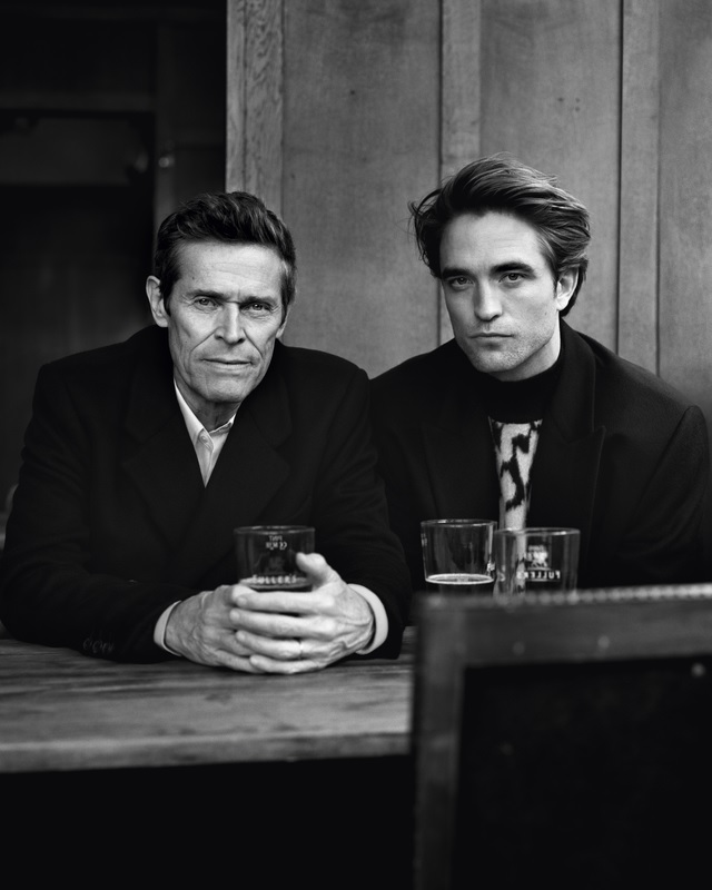 "Robert Pattinson and Willem Dafoe are pictured in an image from their photo shoot with ""Esquire""."