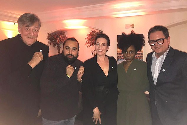 Stephen Fry, Asim Chaudry, Olivia Colman, Crystal Clarke, and Alan Carr show off their Extinction Rebellion buttons.