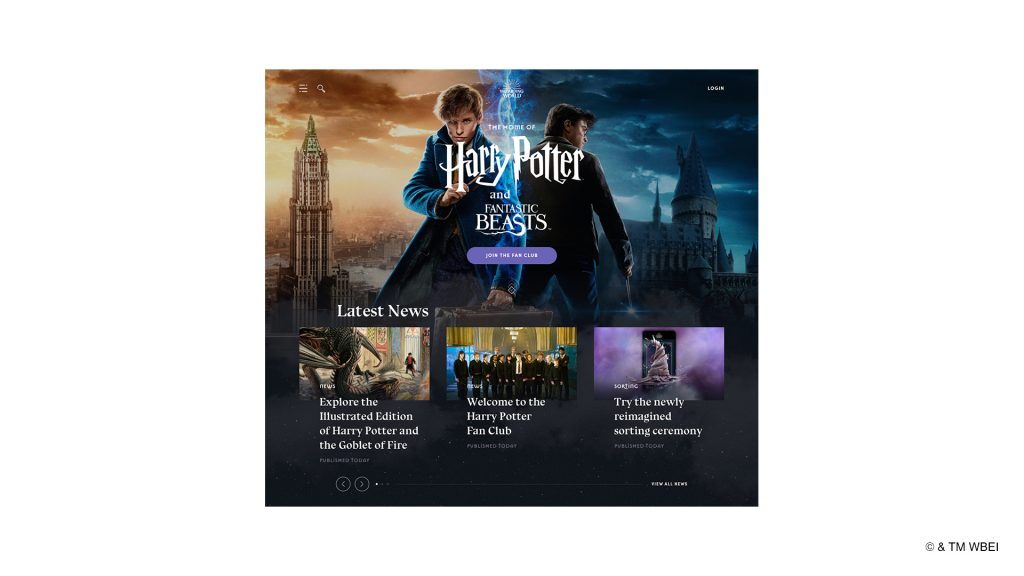 WizardingWorld.com's new homepage features Harry and Newt