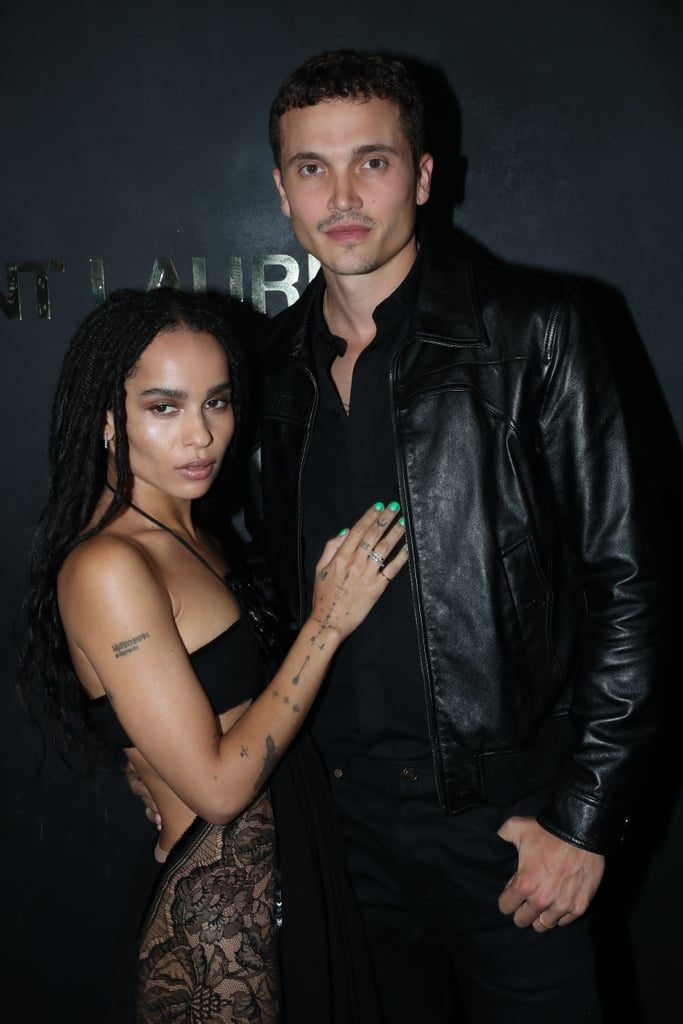 Zoe Kravitz is pictured with husband Karl Glusman at the Saint Laurent Spring 2020 fashion show in Paris.