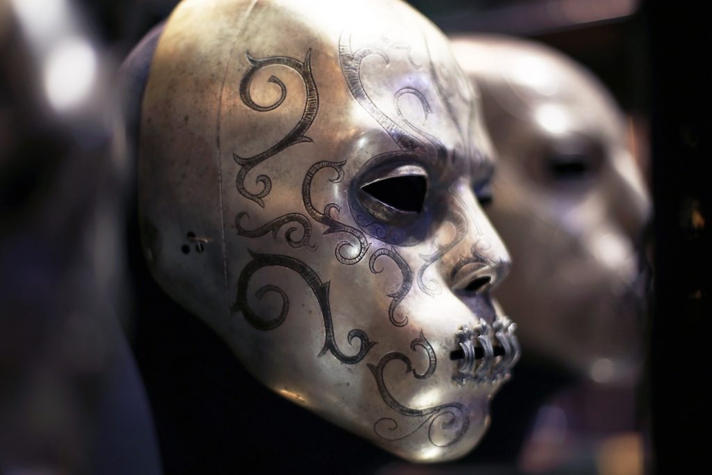 A close up of a Death Eater Mask at the Warner Bros. Studio Tour,