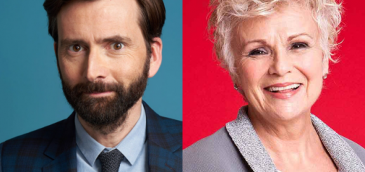 Separate photos of David Tennant and Dame Julie Walters are pictured in a featured image.