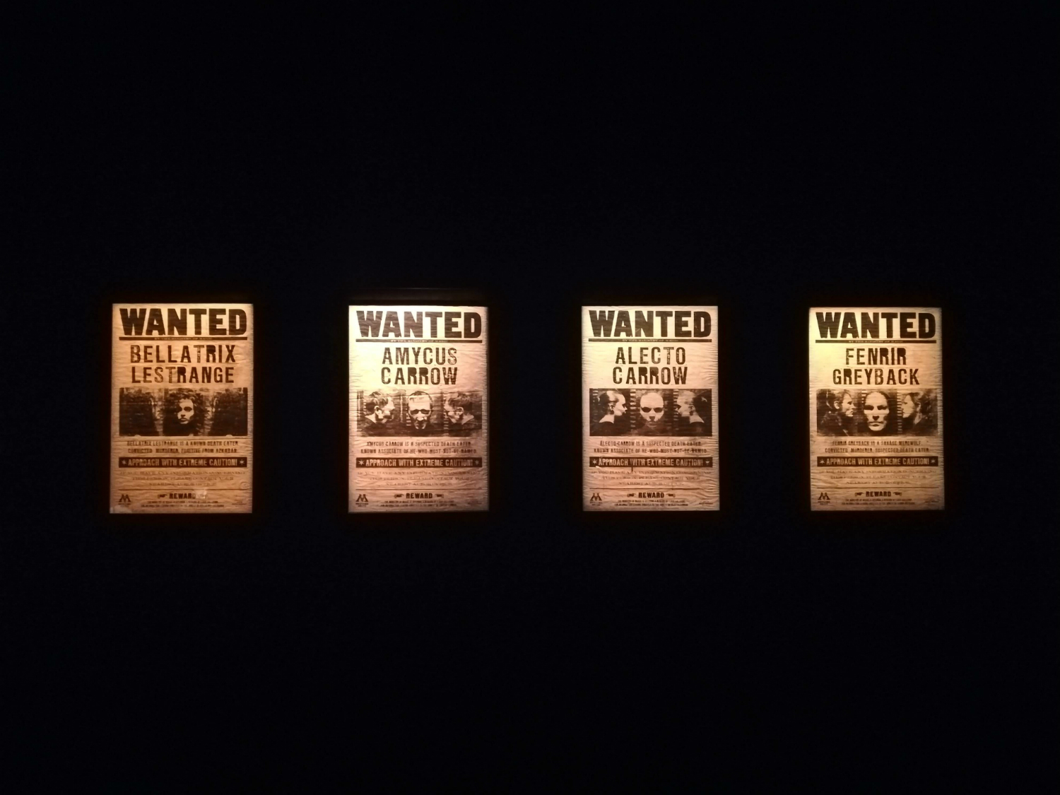 "Wanted posters of Death Eaters are on display at ""Harry Potter: The Exhibition"" in Lisbon."
