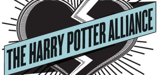 "A blue-black-white logo of a heart with a ribbon that says ""The Harry Potter Alliance"" is pictured. The heart is also struck across by a white lightning."