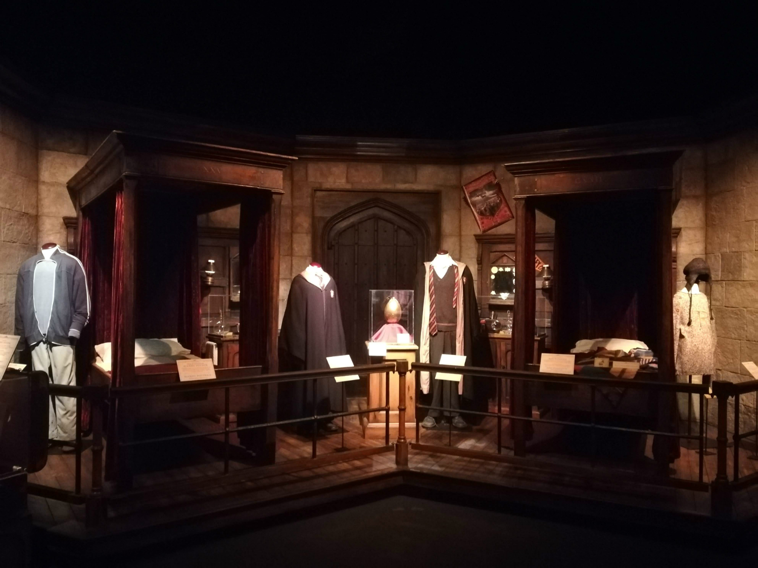 "Stop by the Gryffindor boys' dormitory at ""Harry Potter: The Exhibition"" in Lisbon."