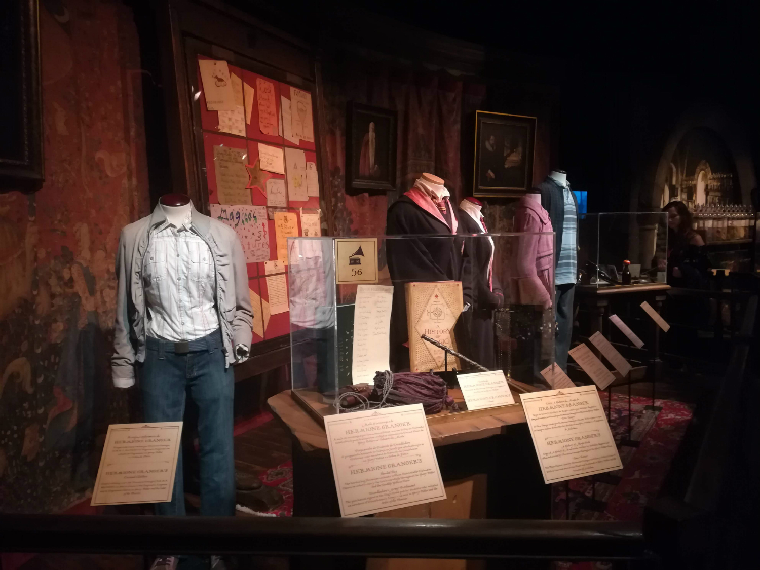 "Check out some of the costumes on display in the Gryffindor common room at ""Harry Potter: The Exhibition"" in Lisbon."