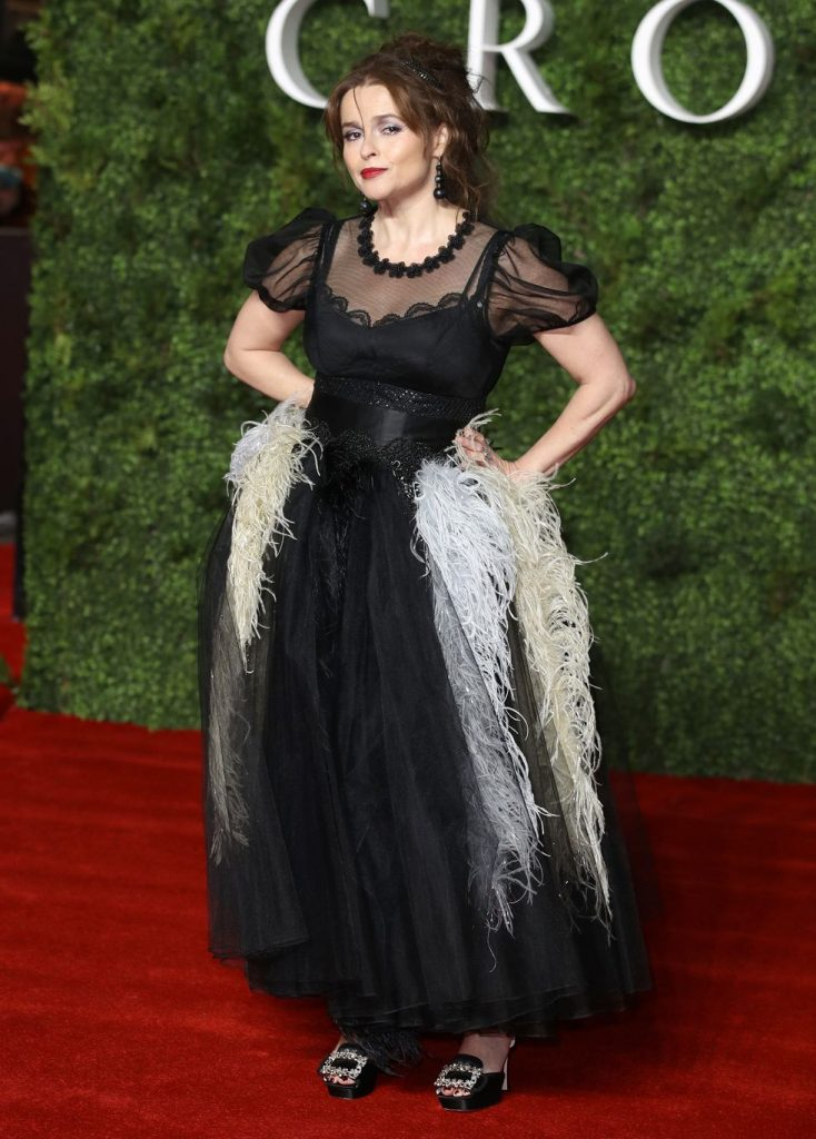 """Helena Bonham Carter poses on the red carpet for Season 3 of """"The Crown""""."""