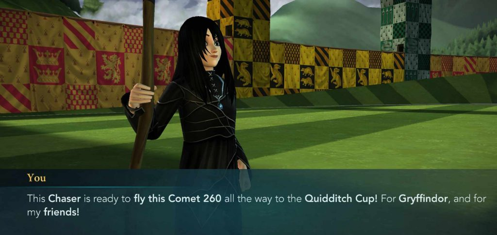 "A screenshot from ""Harry Potter: Hogwarts Mystery"" shows a character with her new Comet 260 broom."