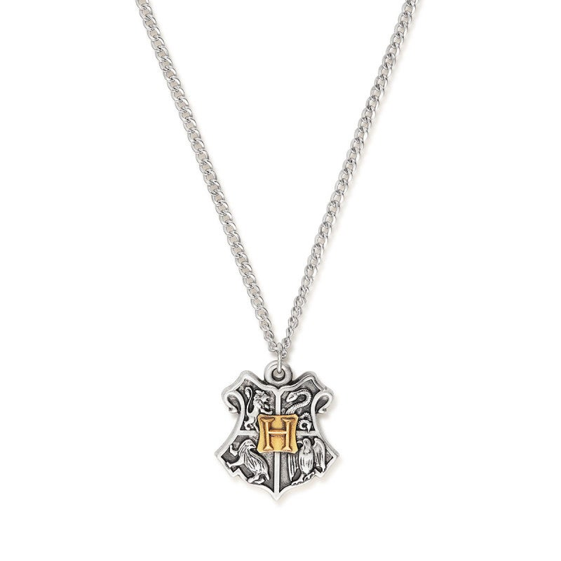 An image showing the two-tone Hogwarts crest necklace from Alex and Ani