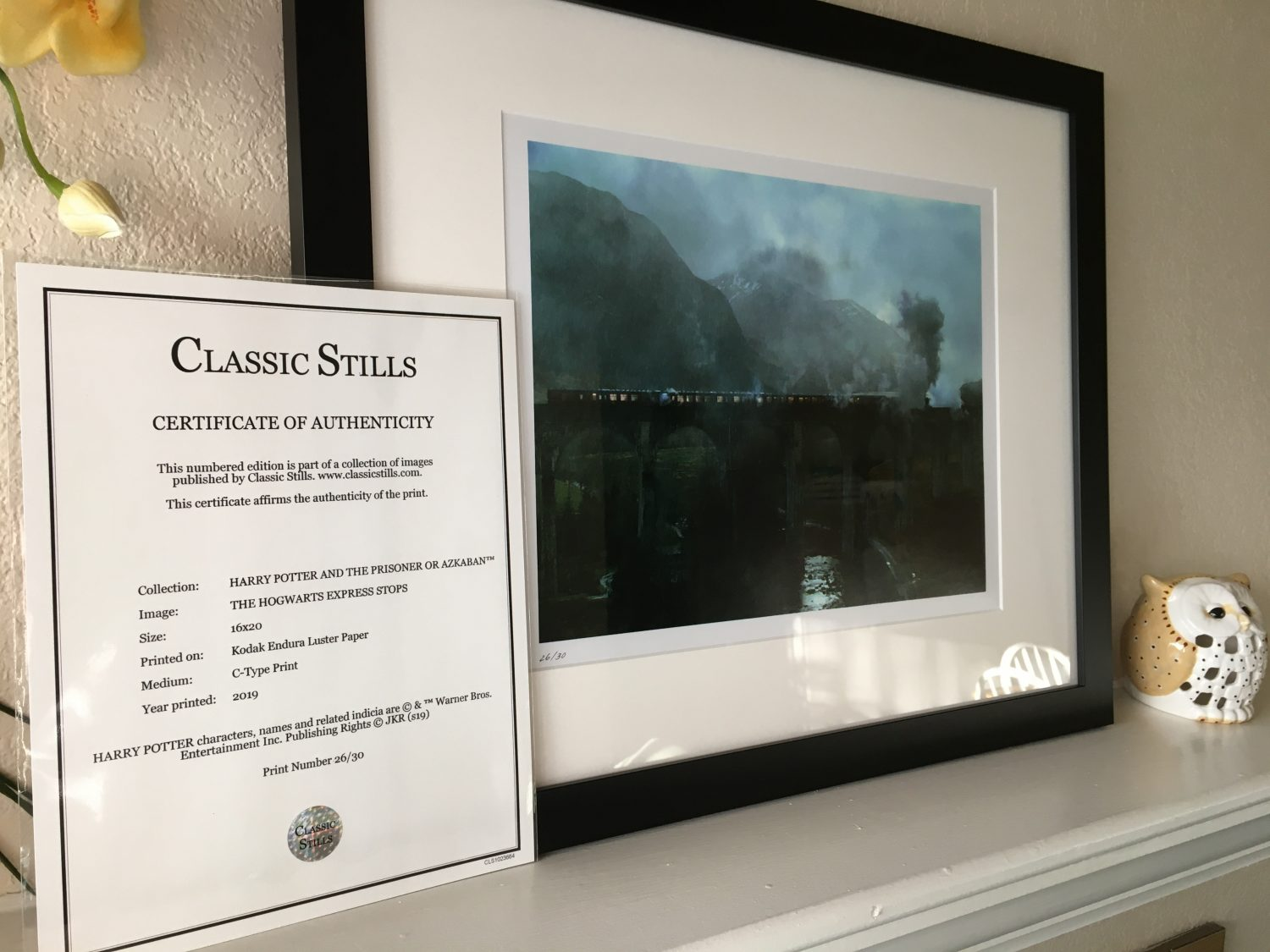 "Classic Stills's ""The Hogwarts Express Stops"" certificate of authenticity"