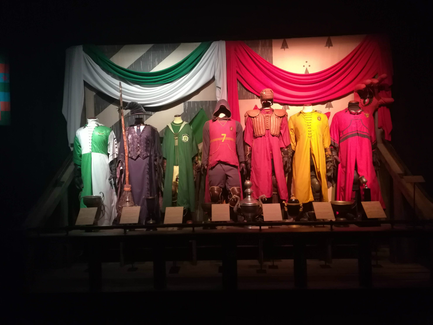 "Quidditch uniforms are on display at ""Harry Potter: The Exhibition"" in Lisbon."