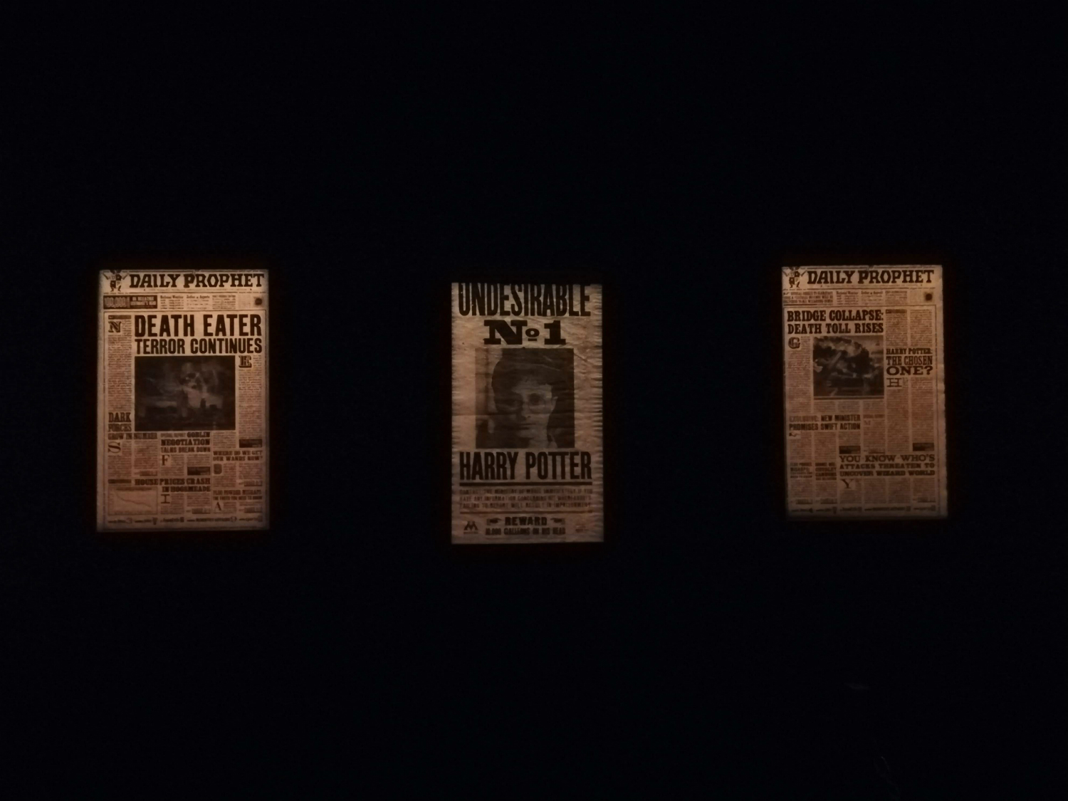 "Pages from the ""Daily Prophet"" are on display at ""Harry Potter: The Exhibition"" in Lisbon."