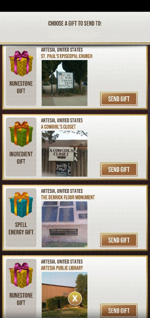 "This screenshot shows the gifting screen from ""Harry Potter: Wizards Unite""."