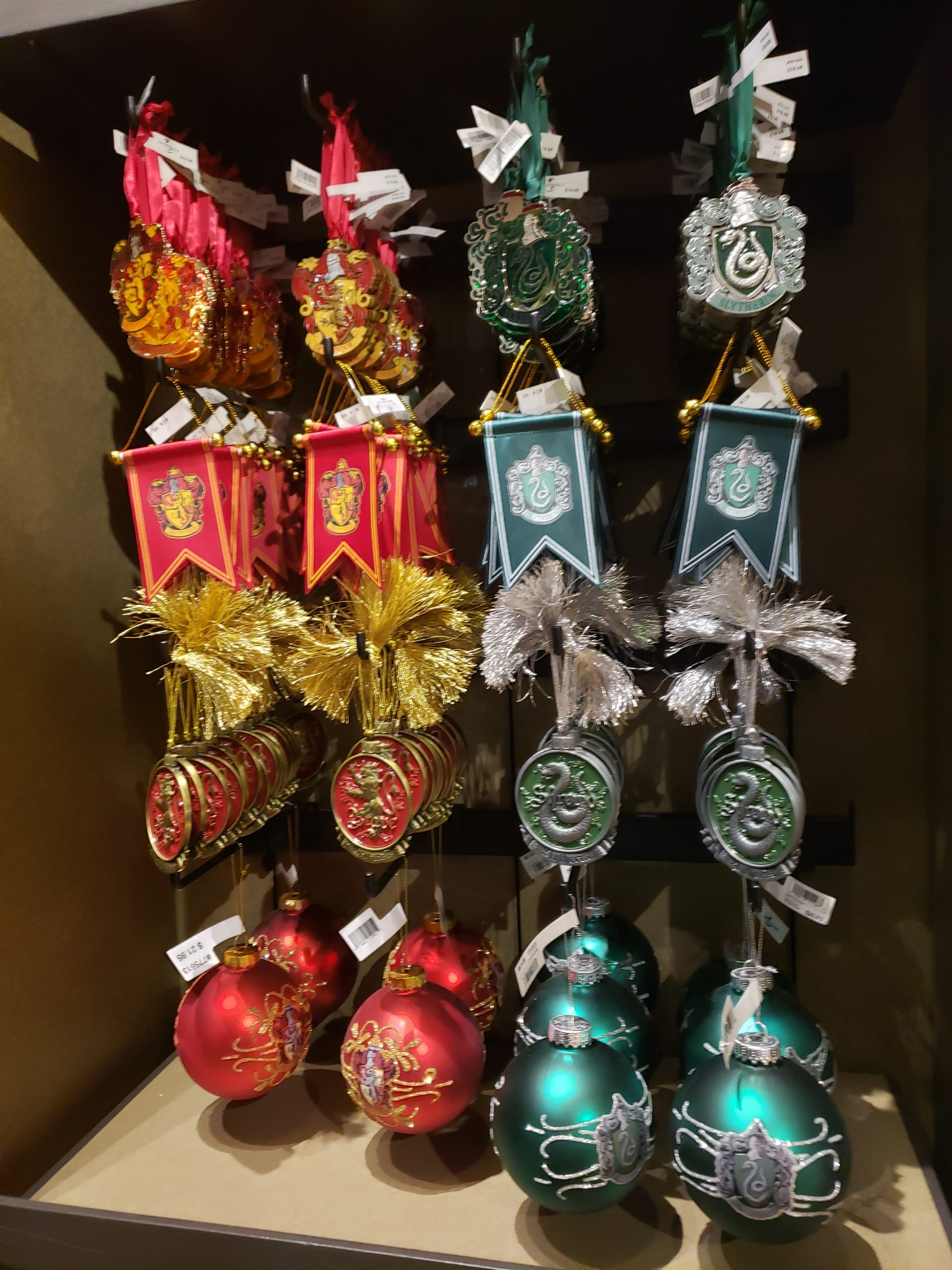 Gryffindor and Slytherin ornaments