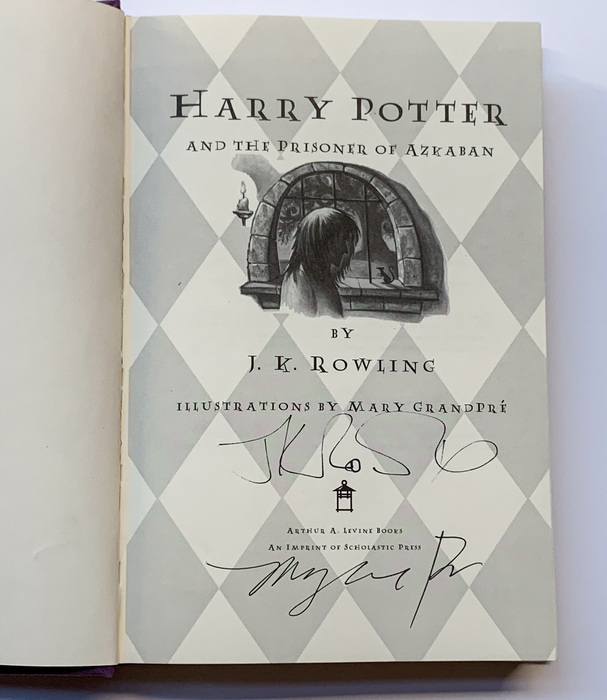 """A signed first edition of """"Harry Potter and the Prisoner of Azkaban""""."""