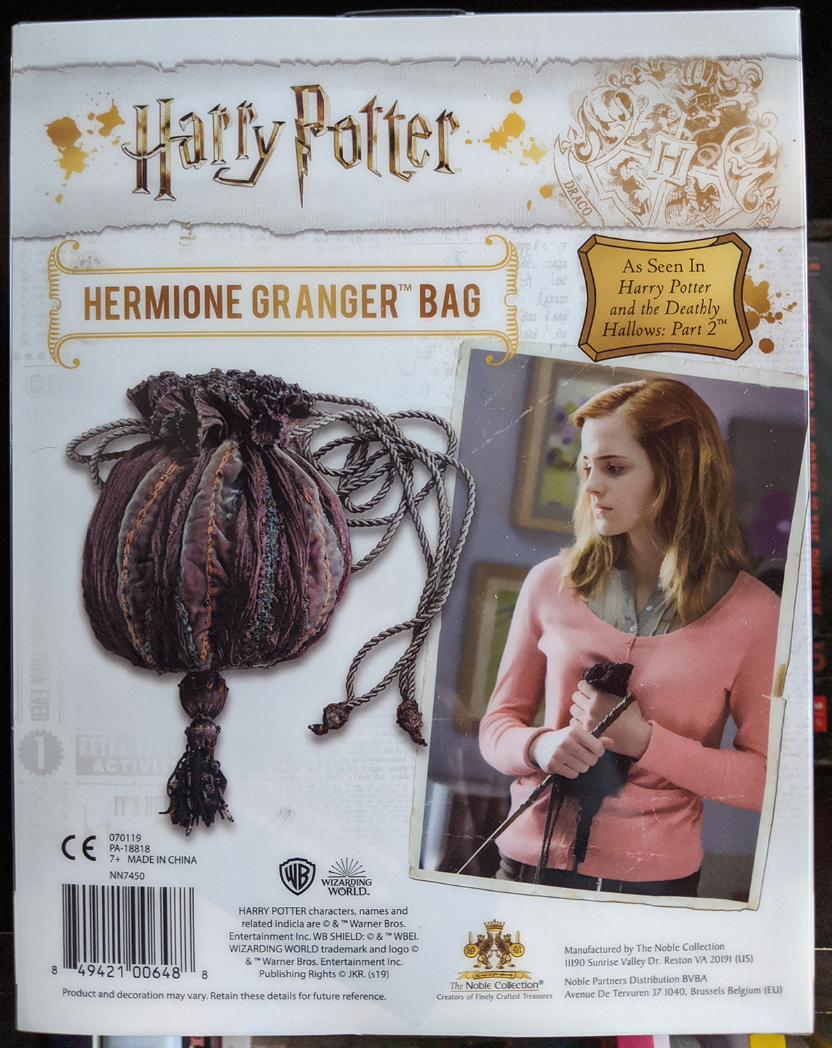 Hermione's bag packaging, back