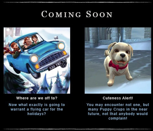 """Harry Potter: Hogwarts Mystery"" teases that the Flying Ford Anglia and Crup puppies are on the horizon."