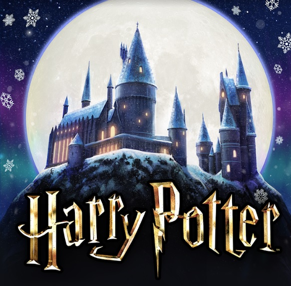 "Hogwarts gets the snow globe treatment in this image from ""Harry Potter: Hogwarts Mystery""."