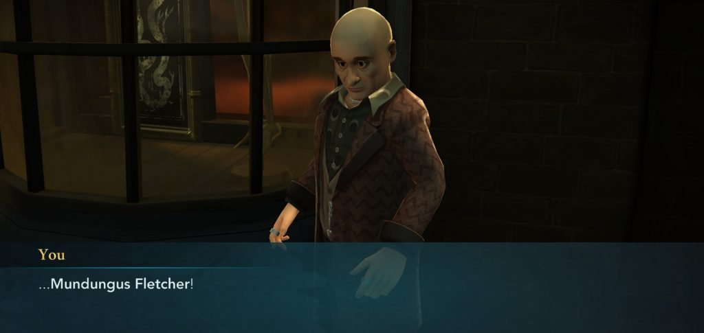"Mundungus Fletcher is pictured in ""Harry Potter: Hogwarts Mystery""."