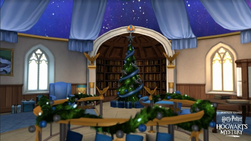 "The Ravenclaw Common Room is decorated for Christmas in ""Harry Potter: Hogwarts Mystery""."