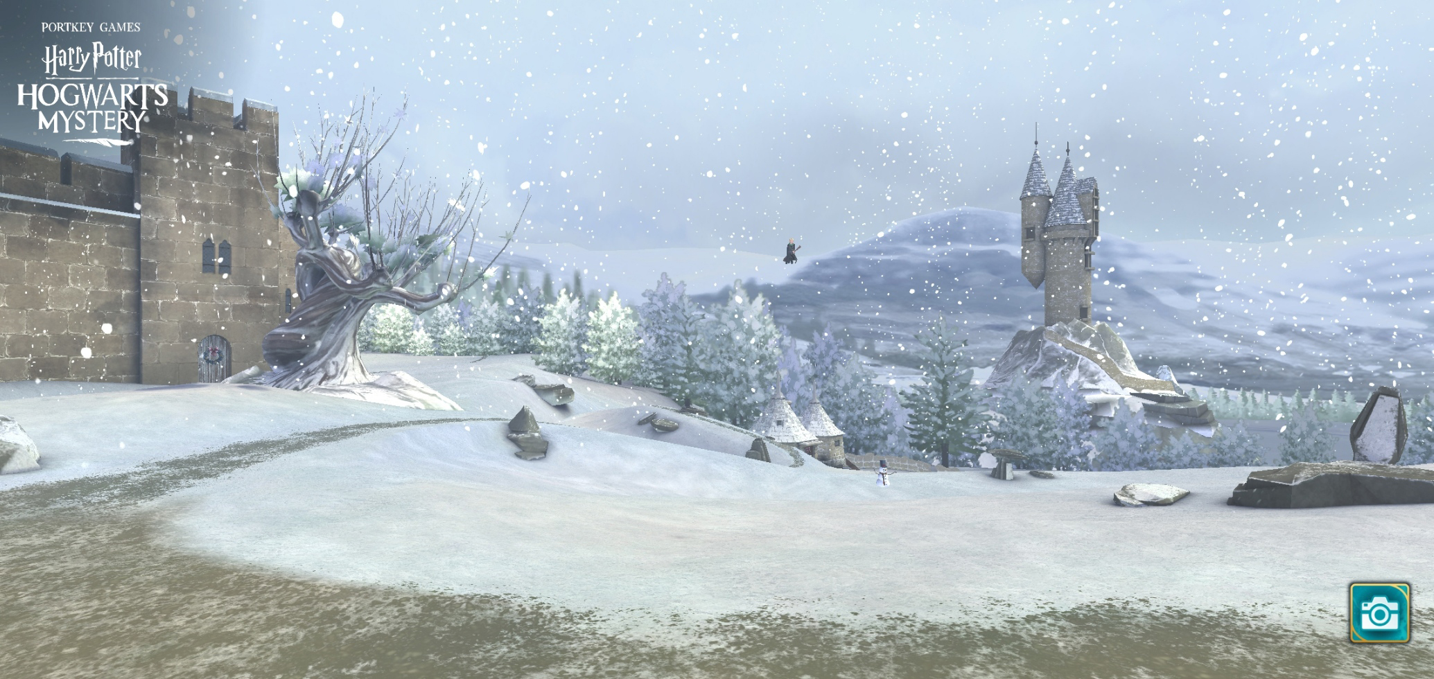 The Whomping Willow looks unassuming and less deadly than usual in this snowy scene on the Castle Grounds.